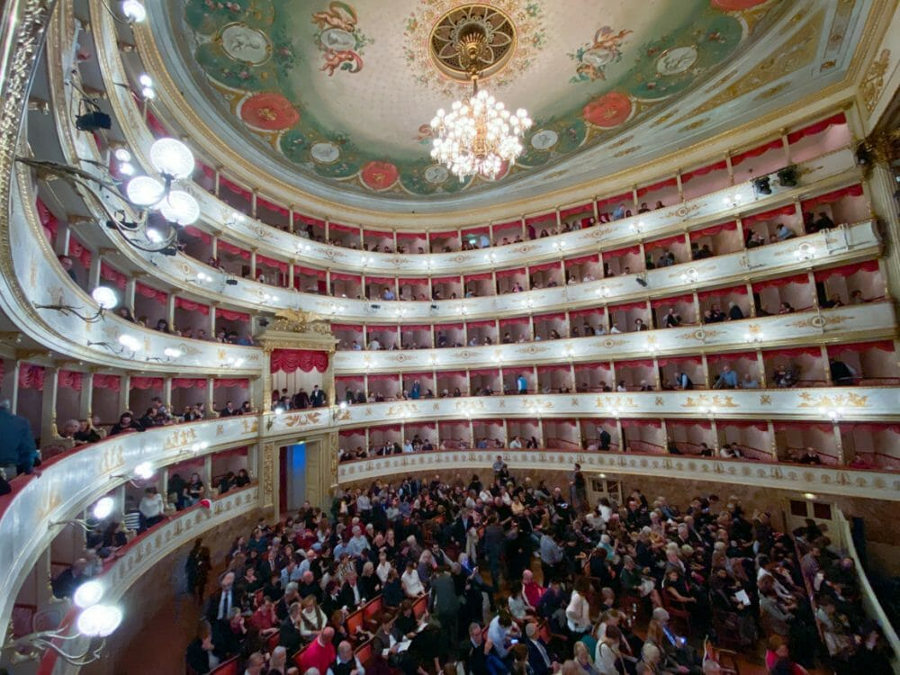 The beautiful Pavarotti Theatre in Modena